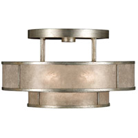 Singapore Moderne 3 Light 24 inch Muted Silver Leaf Semi-Flush Mount Ceiling Light