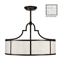 Fine Art Lamps Black and White Story 8 Light Pendant in Studio White Satin Lacquer 601840-5ST