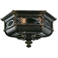 Warwickshire 3 Light 21 inch Wrought Iron Patina Outdoor Flush Mount