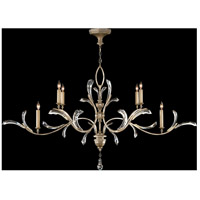 Fine Art Lamps Beveled Arcs 6 Light Chandelier in Muted Silver Leaf 700840ST