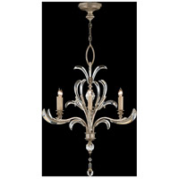 Fine Art Lamps Beveled Arcs 6 Light Chandelier in Muted Silver Leaf 701040ST