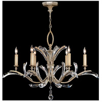 Fine Art Lamps Beveled Arcs 6 Light Chandelier in Warm Muted Silver Leaf 702440ST