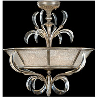 Beveled Arcs 3 Light 26 inch Warm Muted Silver Leaf Semi-Flush Mount Ceiling Light
