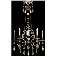 Encased Gems 6 Light 50 inch Vintage Silver Leaf Chandelier Ceiling Light