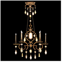 Encased Gems 6 Light 50 inch Variegated Gold Leaf Chandelier Ceiling Light