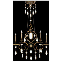 Fine Art Lamps Encased Gems 6 Light Chandelier in Variegated Gold Leaf 726040-3ST