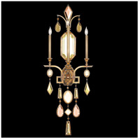 Encased Gems 3 Light 19 inch Variegated Gold Leaf Sconce Wall Light