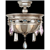 Encased Gems 3 Light 21 inch Vintage Silver Leaf Semi-Flush Mount Ceiling Light