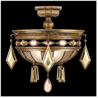Fine Art Lamps Encased Gems 3 Light Semi-Flush Mount in Variegated Gold Leaf 727240-1ST