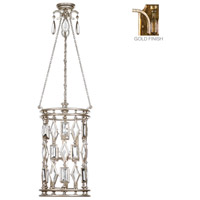 Encased Gems 6 Light 15 inch Variegated Gold Leaf Lantern Ceiling Light