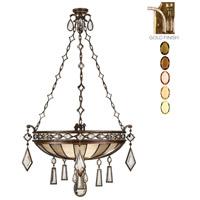 Fine Art Lamps Encased Gems 3 Light Pendant in Variegated Gold Leaf 728640-1ST