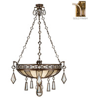 Encased Gems 3 Light 35 inch Variegated Gold Leaf Pendant Ceiling Light
