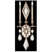 Encased Gems 2 Light 12 inch Vintage Silver Leaf Sconce Wall Light