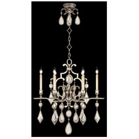Fine Art Lamps Encased Gems 6 Light Chandelier in Vintage Silver Leaf 729440-3ST