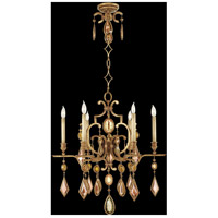 Encased Gems 6 Light 29 inch Variegated Gold Leaf Chandelier Ceiling Light