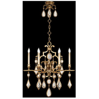Fine Art Lamps Encased Gems 6 Light Chandelier in Variegated Gold Leaf 729640-3ST