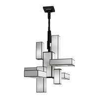 Black + White Story 12 Light 46 inch Black Satin Lacquer Chandelier Ceiling Light