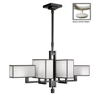 Fine Art Lamps Black and White Story 6 Light Chandelier in Studio White Satin Lacquer 734040-5ST