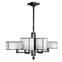 Fine Art Lamps Black and White Story 6 Light Chandelier in Black Satin Lacquer 734040-6ST
