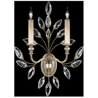 Crystal Laurel 2 Light 17 inch Antiqued Warm Silver Leaf Sconce Wall Light