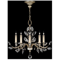 Crystal Laurel 5 Light 32 inch Antique Warm Silver Leaf Chandelier Ceiling Light