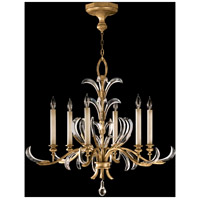 Fine Art Lamps Beveled Arcs 6 Light Chandelier in Muted Gold Leaf 762640ST
