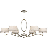 Allegretto Silver 6 Light 51 inch Platinized Silver Leaf Chandelier Ceiling Light