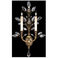 Fine Art Lamps Crystal Laurel 2 Light Sconce in Warm Antiqued Silver Leaf 773150ST
