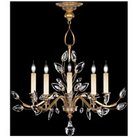 Fine Art Lamps Crystal Laurel 5 Light Chandelier in Warm Antiqued Silver Leaf 775840ST