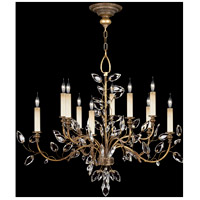 Fine Art Lamps Crystal Laurel 10 Light Chandelier in Warm Antiqued Silver Leaf 775940ST