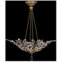 Crystal Laurel Gold 4 Light 35 inch Antiqued Warm Gold Leaf Pendant Ceiling Light
