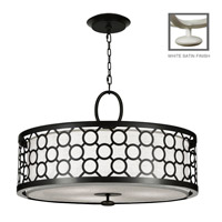 Fine Art Lamps Black + White Story 3 Light Pendant in Studio White Satin Lacquer 780140-5ST