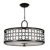 Fine Art Lamps Black and White Story 3 Light Pendant in Black Satin Lacquer 780140-6ST