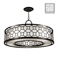 Fine Art Lamps Black + White Story 5 Light Pendant in Studio White Satin Lacquer 780340-5GU