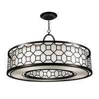 Fine Art Lamps Black + White Story 5 Light Pendant in Black Satin Lacquer 780340-6GU