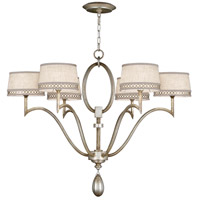 Allegretto Silver 6 Light 39 inch Platinized Silver Leaf Chandelier Ceiling Light