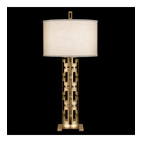 Allegretto Gold 33 inch 150 watt Burnished Gold Leaf Table Lamp Portable Light