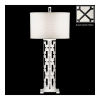 Black + White Story 33 inch 150 watt Black Satin Lacquer Table Lamp Portable Light
