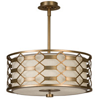 Allegretto Gold 3 Light 24 inch Burnished Gold Leaf Pendant Ceiling Light