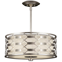 Allegretto Silver 3 Light 24 inch Platinized Silver Leaf Pendant Ceiling Light