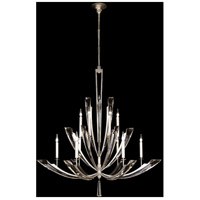 Fine Art Lamps Vol de Cristal 12 Light Chandelier in Platinized Silver Leaf 789840ST