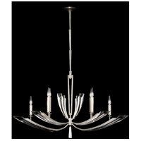Fine Art Lamps Vol de Cristal 6 Light Chandelier in Platinized Silver Leaf 797440ST