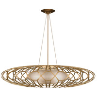 Allegretto Gold 3 Light 39 inch Gold Leaf Pendant Ceiling Light