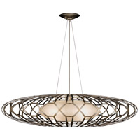 Allegretto Silver 3 Light 39 inch Platinized Silver Leaf Pendant Ceiling Light