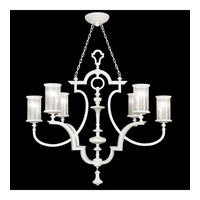 Fine Art Lamps Black and White Story 6 Light Chandelier in Studio White Satin Lacquer 806740-5ST