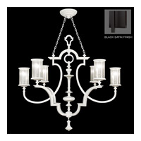 Fine Art Lamps Black and White Story 6 Light Chandelier in Black Satin Lacquer 806740-6ST