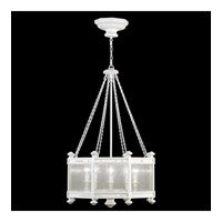 Fine Art Lamps Black + White Story 8 Light Pendant in Studio White Satin Lacquer 807440-5ST