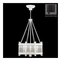 Fine Art Lamps Black and White Story 8 Light Pendant in Black Satin Lacquer 807440-6ST