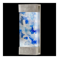 Fine Art Lamps Crystal Bakehouse 2 Light Sconce in Silver Leaf with Polished Block of Cobalt & Aqua Crystal Shards 810950-32ST