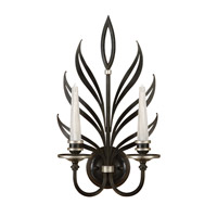 Fine Art Lamps Villandry 2 Light Sconce in Rubbed Black w/ Antique Silver Leaf 814650-2ST